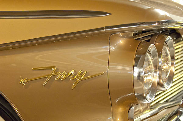 Photograph - 1960 Plymouth Fury Convertible Headlight Emblem by Jill Reger