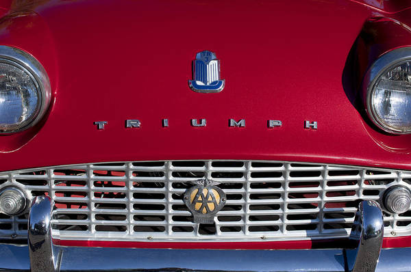 Photograph - 1961 Triumph Tr3a Roadster Grille Emblem by Jill Reger