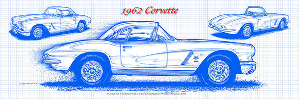 Digital Art - 1962 Corvette Blueprint by K Scott Teeters