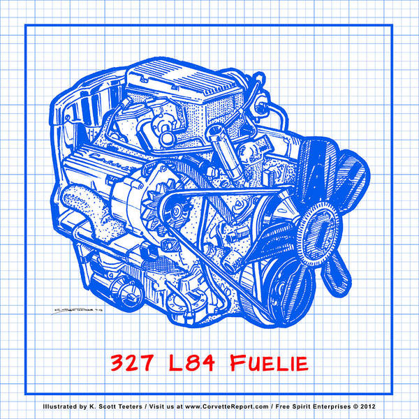 Drawing - 1963 - 1965 L84 327 Corvette Fuelie Engine Blueprint by K Scott Teeters