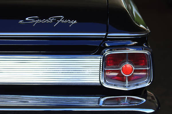 Photograph - 1963 Plymouth Sport Fury Taillight Emblem by Jill Reger