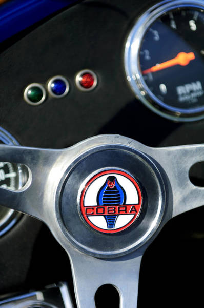 Photograph - 1965 Ac Cobra Steering Wheel Emblem 2 by Jill Reger