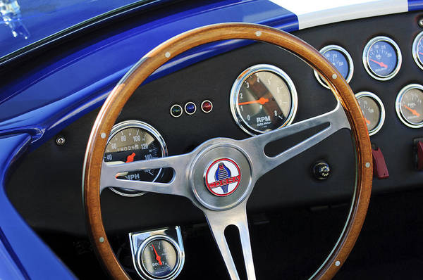 Photograph - 1965 Ac Cobra Steering Wheel Emblem by Jill Reger