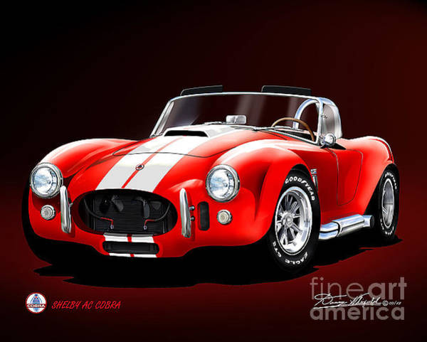 Cobra Drawing - 1965 Shelby Cobra 427 by Danny Whitfield