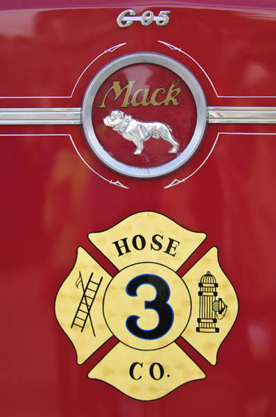 Photograph - 1966 Mac C Model Open Cab Fire Truck Emblem by Jill Reger