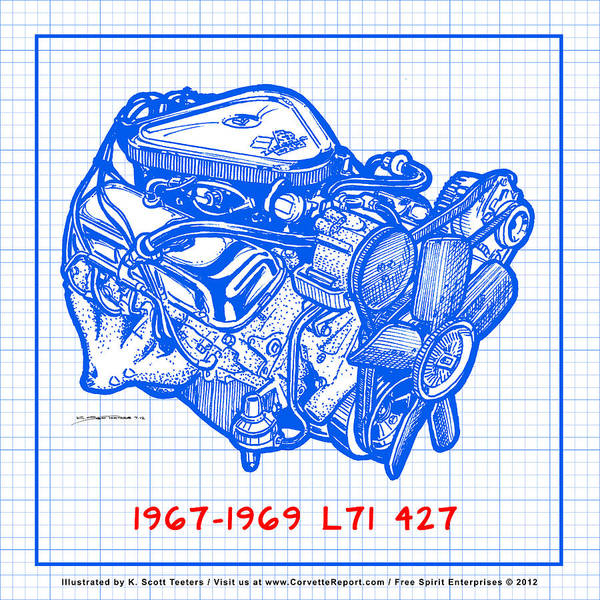 Drawing - 1967 - 1969 L71 427-435 Corvette Engine Blueprint by K Scott Teeters