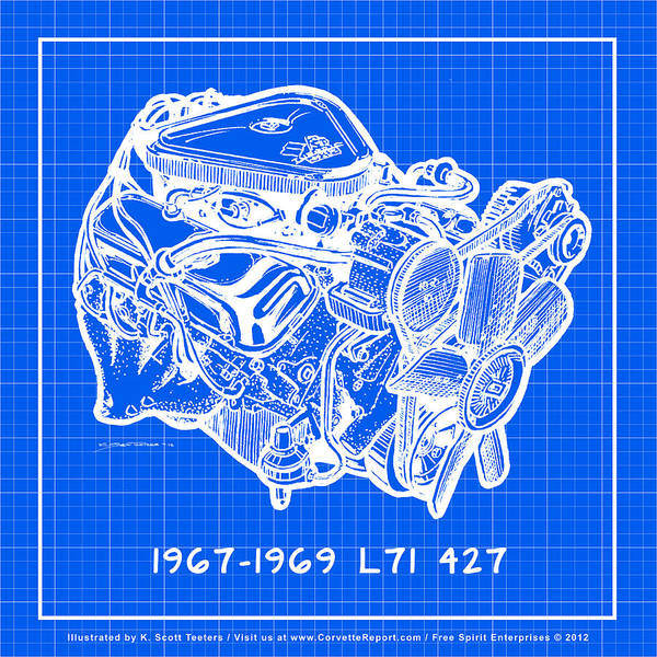 Drawing - 1967 - 1969 L71 427-435 Corvette Engine Reverse Blueprint by K Scott Teeters