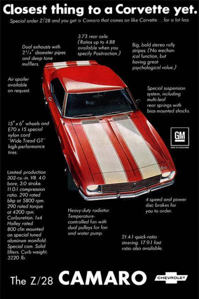 A To Z Digital Art - 1968 Chevrolet Z/28 Camaro  by Digital Repro Depot