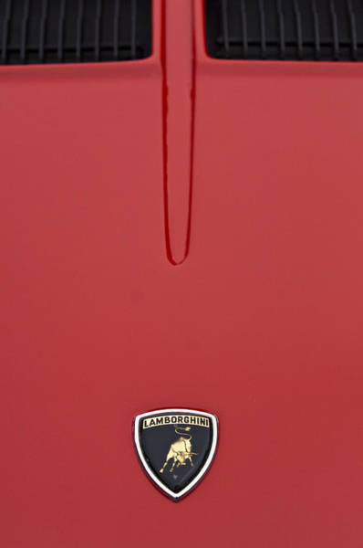 Photograph - 1968 Lamborghini Hood Emblem by Jill Reger