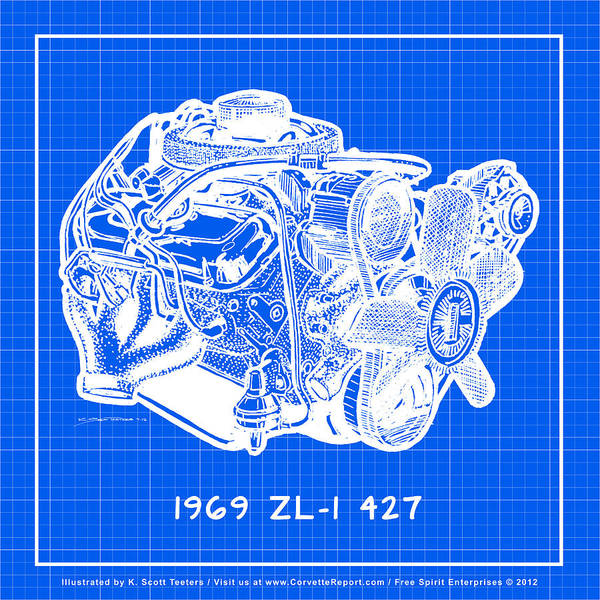 Drawing - 1969 427 Zl-1 Corvette Racing Engine Reverse Blueprint by K Scott Teeters