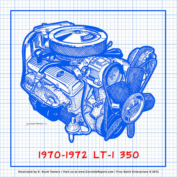 Drawing - 1970 - 1972 Lt-1 Corvette Engine Blueprint by K Scott Teeters
