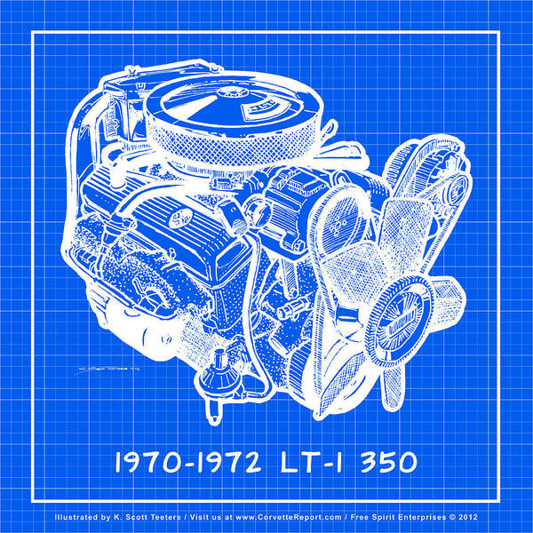 Drawing - 1970 - 1972 Lt-1 Corvette Engine Reverse Blueprint by K Scott Teeters
