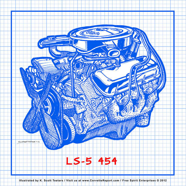 Drawing - 1970 Ls5 454 Big-block Corvette Engine Blueprint by K Scott Teeters