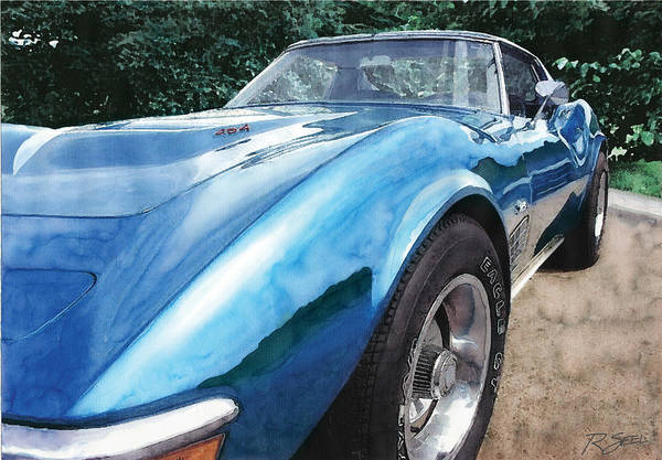 Painting - 1972 Blue Corvette Stingray by Rod Seel