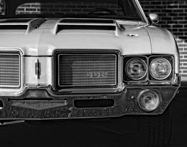 Oldsmobile 442 Wall Art - Photograph - 1972 Olds 442 Black And White  by Gordon Dean II