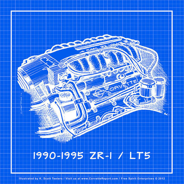 Drawing - 1990-1995 C4 Zr-1 Lt5 Corvette Engine Reverse Blueprint by K Scott Teeters