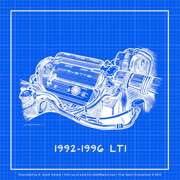 Drawing - 1992-1996 Lt1 Corvette Engine Reverse Blueprint by K Scott Teeters