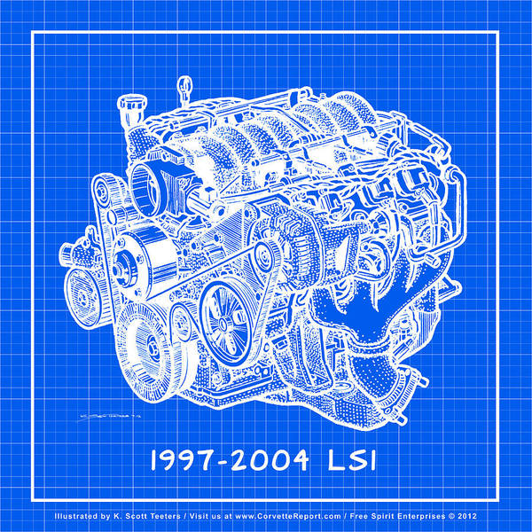 Drawing - 1997 - 2004 Ls1 Corvette Engine Reverse Blueprint by K Scott Teeters