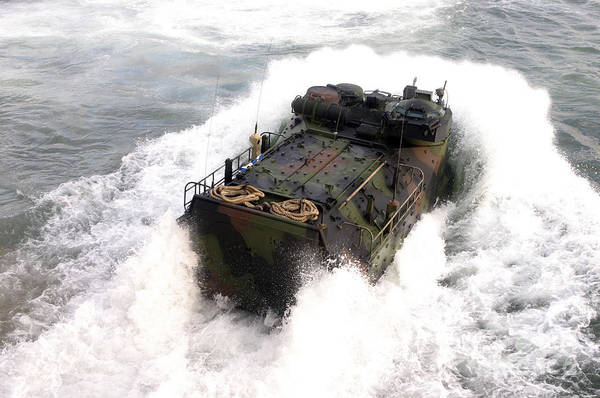 Uss Whidbey Island Photograph - An Amphibious Assault Vehicle by Stocktrek Images