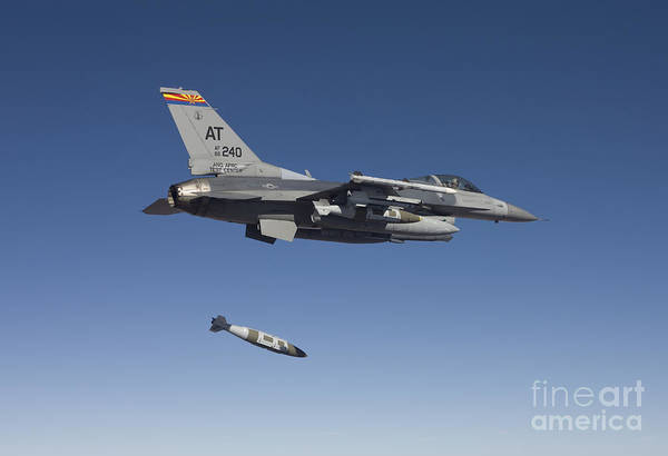 National Guard Photograph - An F-16 Fighting Falcon Releases by HIGH-G Productions