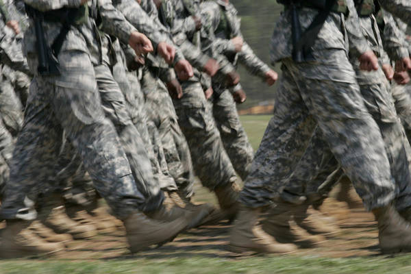 Fort Bragg Photograph - Army Rangers Marching In Formation by Skip Brown