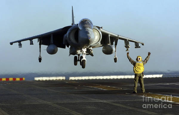 Flight Deck Photograph - Aviation Boatswains Mate Directs An by Stocktrek Images