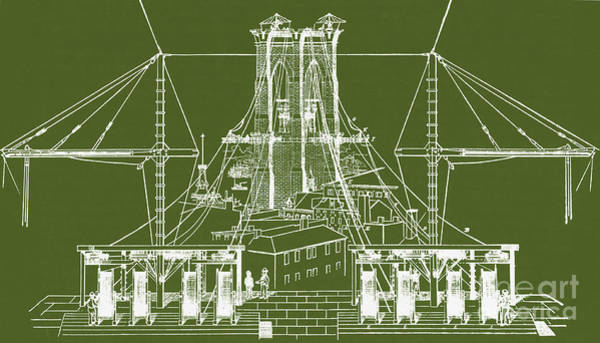 Photograph - Brooklyn Bridge Diagram by Photo Researchers