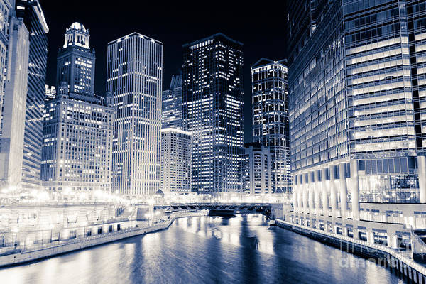 Wabash Avenue Wall Art - Photograph - Chicago River Buildings At Night by Paul Velgos