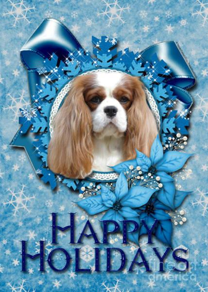 Blenheim Digital Art - Christmas - Blue Snowflakes Cavalier King Charles Spaniel by Renae Crevalle