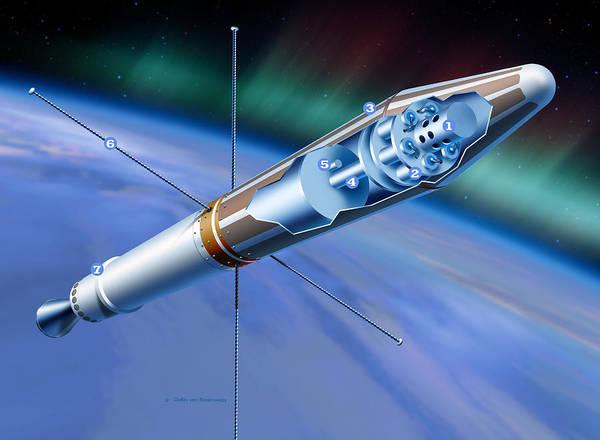 Jet Propulsion Laboratory Photograph - Explorer 1 In Orbit by Detlev Van Ravenswaay