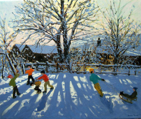 Sledge Wall Art - Painting - Fun In The Snow by Andrew Macara