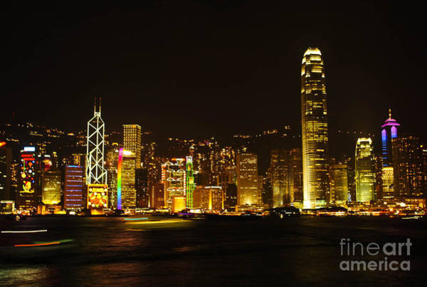 Hongkong Photograph - Hong Kong Skylight At Dusk Landscape The Symphony Of Light Citys by Jeng Suntorn niamwhan