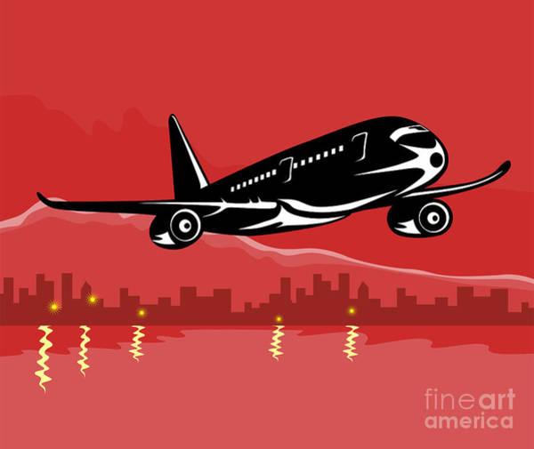 Wall Art - Digital Art - Jumbo Jet Plane Retro by Aloysius Patrimonio