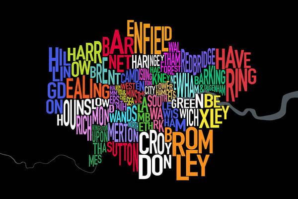 Kingdom Wall Art - Digital Art - London Uk Text Map by Michael Tompsett