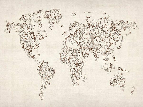 World Travel Digital Art - Map Of The World Map Floral Swirls by Michael Tompsett