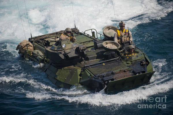 Aav Photograph - Marines Navigate An Amphibious Assault by Stocktrek Images