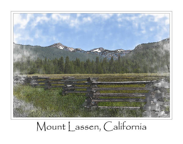 Snow Fence Digital Art - Mount Lassen California Volcanic National Park by Brandon Bourdages