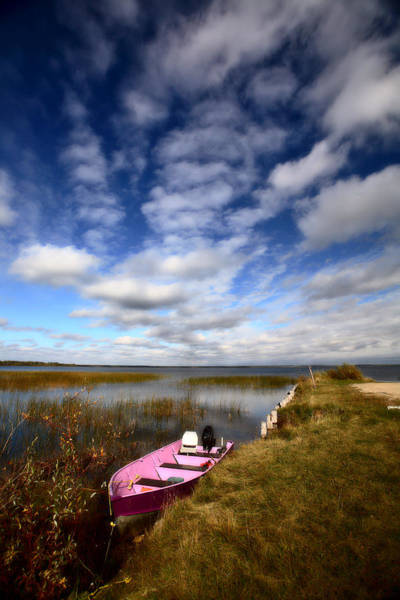 Outboard Photograph - Pink Boat In Scenic Saskatchewan by Mark Duffy