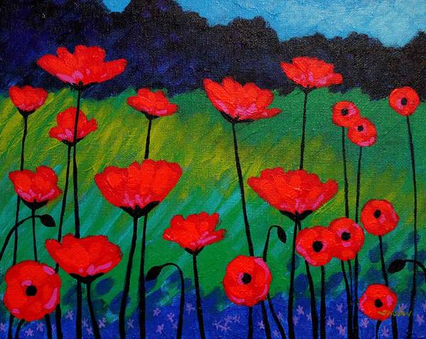 Provence Landscape Wall Art - Painting - Poppy Corner by John  Nolan