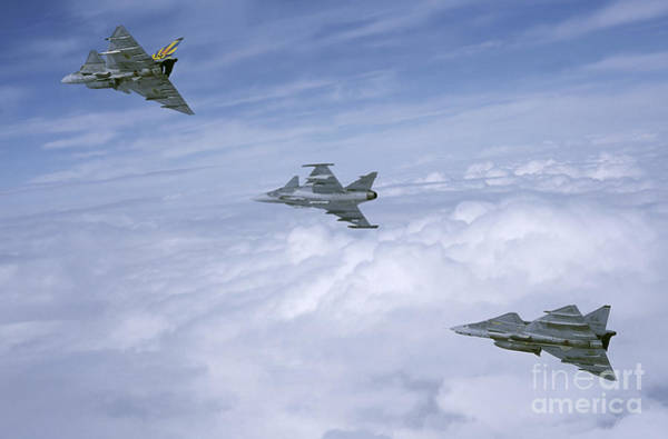 Delta Wing Photograph - Saab Ja 37 Viggen And Saab Jas 39 by Daniel Karlsson