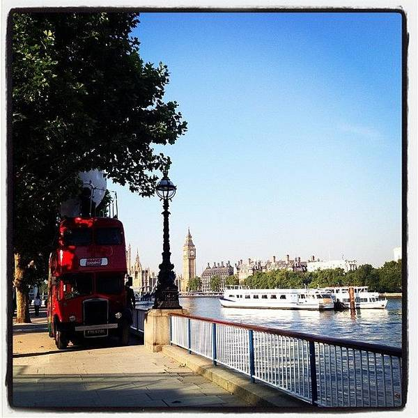 Bus Photograph - Southbank by Maeve O Connell