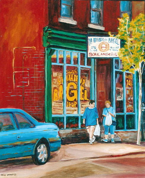 Painting - St. Viateur Bagel Shop by Carole Spandau
