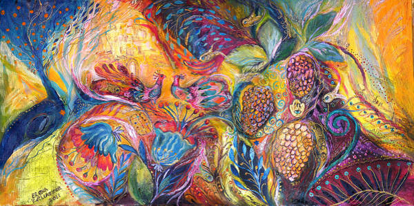Mizrach Wall Art - Painting - The Flowers And Fruits by Elena Kotliarker