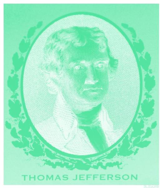 Photograph - Thomas Jefferson In Negative Green by Rob Hans