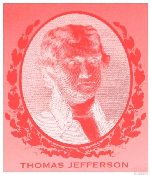 Photograph - Thomas Jefferson In Negative Red by Rob Hans