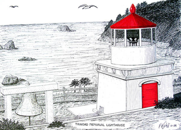 Trinidad Drawing - Trinidad Memorial Lighthouse by Frederic Kohli