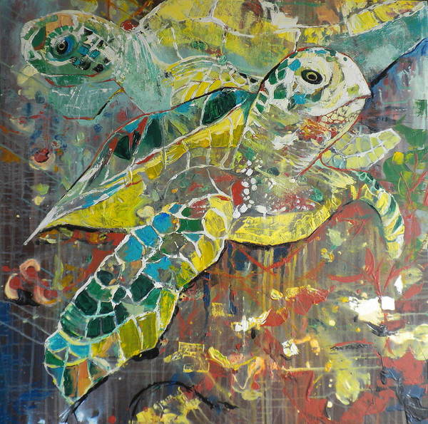 Caribbean Wall Art - Painting - 2 Turtles by Jan Farara