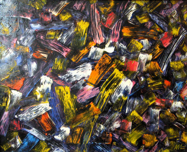 Post-it Painting - Twinkles Of Light - An Abstract Oil Painting 2008 by Andrei Mudrea