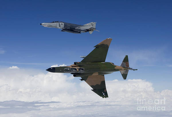 Interceptor Photograph - Two Qf-4es Fly Over The Gulf Of Mexico by HIGH-G Productions