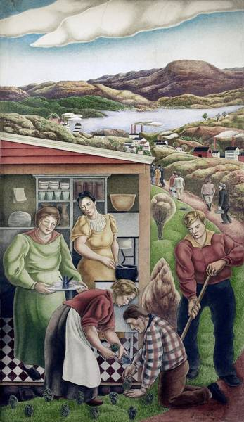 Works Progress Administration Photograph - Wpa Mural. Society Freed Through by Everett